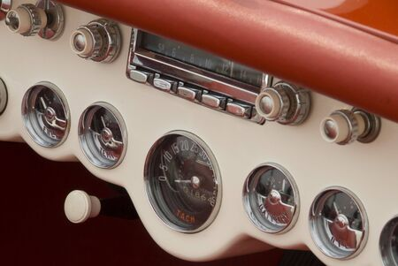 Close up detail of a classic car at a car show photo
