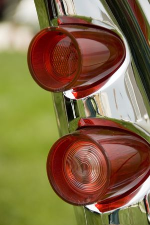 circular muscle: Close up detail of a classic car at a car show