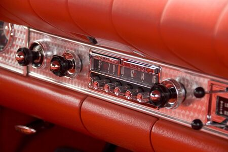 stereo: Close up detail of a classic car at a car show