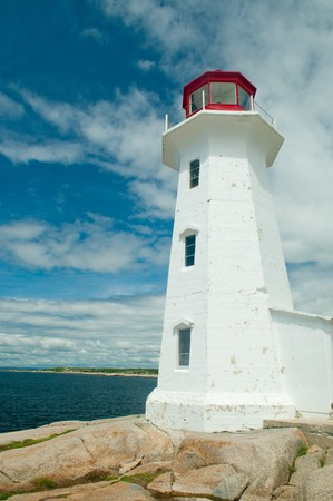 The famous lighthouse at Peggys Cove, Nova Scotia, Canada photo