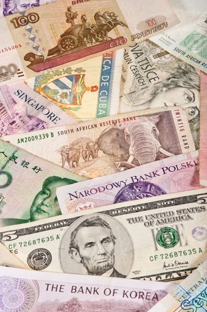 Assorted worldwide banknotes suitable for a background image photo