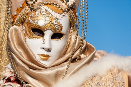 venezia: Beautiful coloured image of the fantastic costumes on display on the streets of Venice during carnival