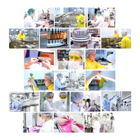 Industrial collage showing workers at work on production of medicines in pharmaceutical factory - vaccines, medicines in ampules, pills, capsules, tablets