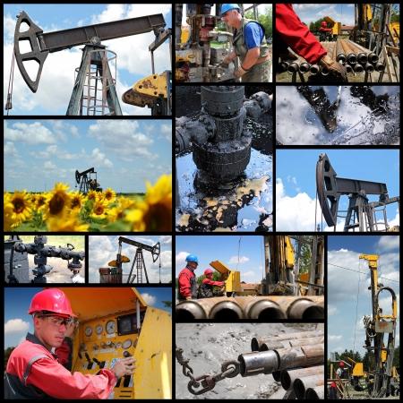 oil  rig: Petrolio e del gas - Olio e collage esplorazione e produzione