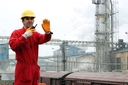 coverall: Industrial Worker in Sugar Refinery Stock Photo