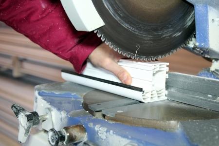 Window Profile Cutting Machine Stock Photo