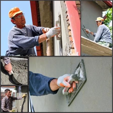 Construction Workers At Work Standard-Bild