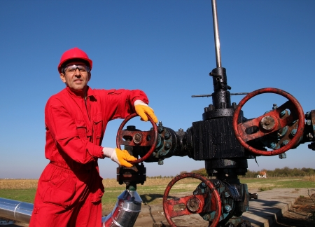 drilling: Oil and Gas Worker Wearing Protective Clothing