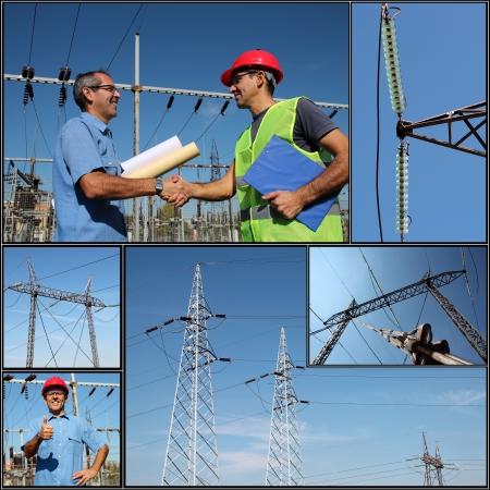electricidad industrial: Distribución de Electricidad Collage de fotografías de trabajadores de la compañía eléctrica en la subestación eléctrica de equipos de distribución de energía