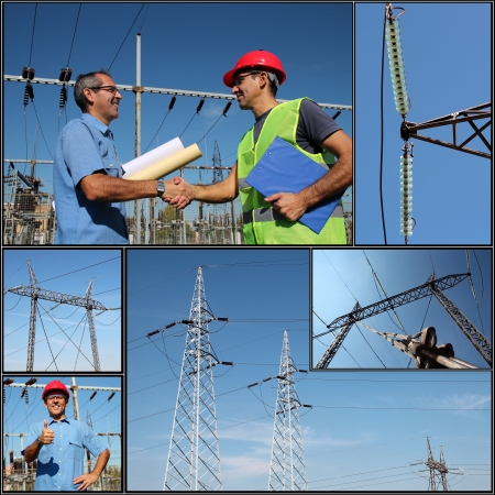 Electricity Distribution  Collage of photographs showing electric company workers at the power substation with power distribution equipment  photo