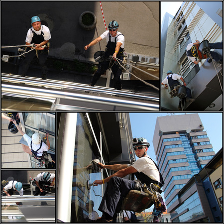 Collage of photographs showing workers washing the windows facade of a modern office building.