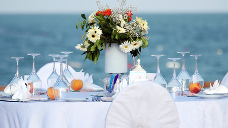 Elegant Outdoor Wedding Table with Sea View