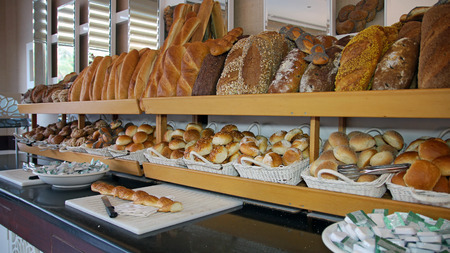 serv: Bread Display At A Hotel Buffet Stock Photo