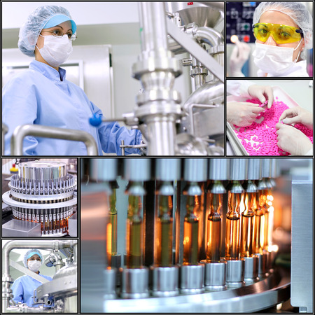 droga: Pharmaceutical Manufacturing Technology. Collage di fotografie che presentano dell'industria concept.Pharmaceutical farmaceutica. Fabbricazione Medicine.