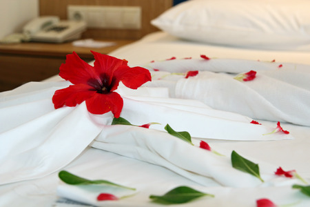hotel bed: Decorated Hotel Bed