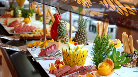 catering food: Buffet Catering Food Arrangement on Table. Stock Photo