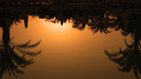 Palm Trees Silhouettes Reflection in the Water at Sunset photo