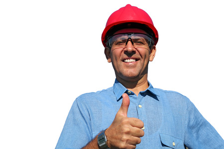 industrious: Thumb up given by smiling engineer isolated on white.