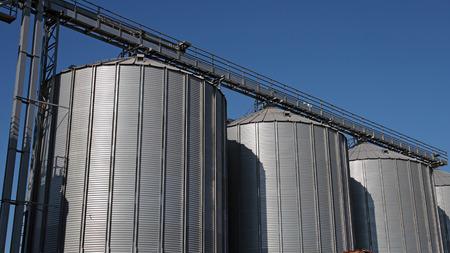factory farm: Commercial Steel Grain Silos Stock Photo