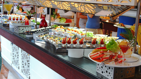 hospitality industry: Buffet Self-service Food Display Stock Photo