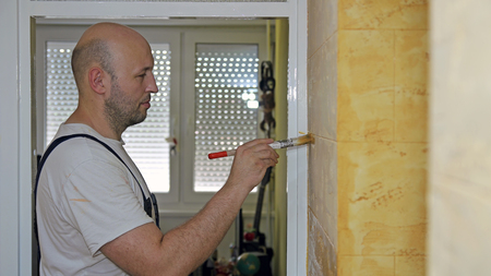the house painter: Pintor de casa de Trabajo Foto de archivo