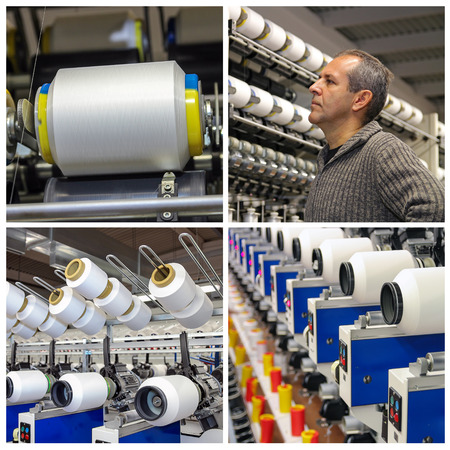 Collage of images showing automated machines for yarn manufacturing. Engineer examining thread in textile Mill. Yarn thread running in the machine. Imagens