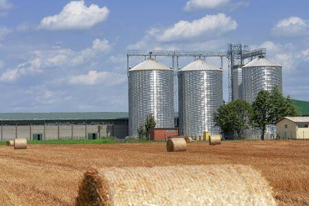 Agricultural Grain Bins in a Farm Field