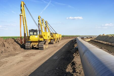 Heavy Machinery and Gas Pipeline Construction Site