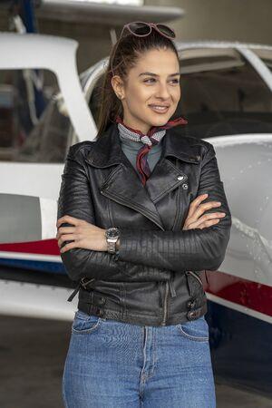 Smiling Young Woman Pilot Portrait