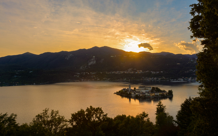 Lake Orta is known as the most romantic lake in Italy. located in Piedmont in northern Italy. In the middle of the lake there is the beautiful island of San Giulio. photo