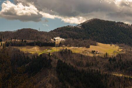 pictured: Pictured the mountain valley near Bergamo Seriana in autumn