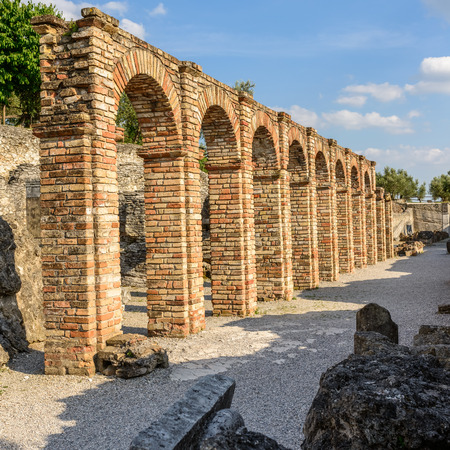 1st century: Caves of Catullus,the Roman villa knows as Villa Catulliana or Grotte di Catullus,the 1st century BC,the columns of cryptoporticus