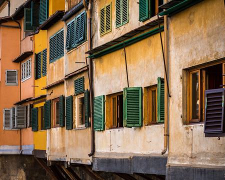 Close up, details  of the medieval walls  Ponte Vecchio  historic  brige in Florence, Italy. Stock Photo