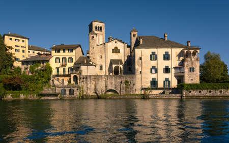 orta: A View of Benedictine monastery at San Giulio island, Lake Orta, Italy