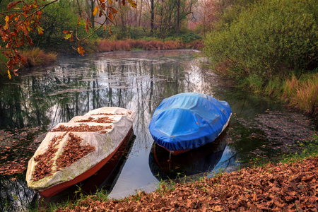 Ticino river and its forest ,forground two covered anchored motorboats.