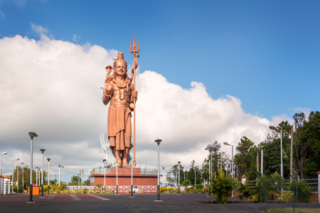 Huge and awesome Shiva statue,near grand Bassin temple in Mauritius island. Stock Photo