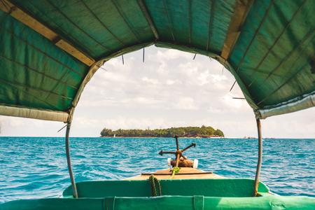 Nice view inside the boat of Prison island,Zanzibar Tanzania,sunny day.