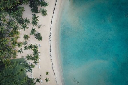 Drone shot of tropical beach.Samana peninsula,Bahia Principe beach,Dominican Republic. 写真素材