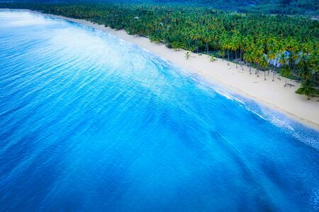 Drone shot of tropical beach.Samana peninsula,Coson beach,Dominican Republic. Фото со стока