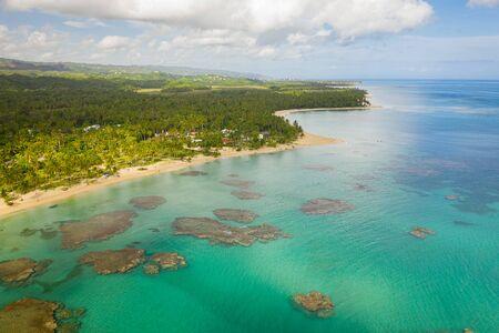 Aerial view of tropical beach.Samana peninsula,Bahia Principe beach,Dominican Republic. Фото со стока - 132051487