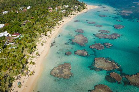 Aerial view of tropical beach.Samana peninsula,Bahia Principe beach,Dominican Republic.