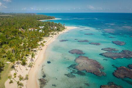 Drone shot of tropical beach.Samana peninsula,Bahia Principe beach,Dominican Republic. Фото со стока