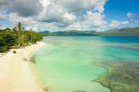 Drone view of tropical beach.Samana peninsula,Playa(beach) Rincon beach,sunny day.Dominican Republic.