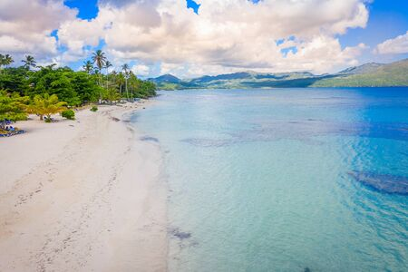 Aerial photography of wonderful tropical beach of Rincon bay.Samana peninsula,Rincon beach,Dominican Republic.