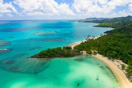 Aerial photography of amazing tropical panorama of Rincon bay.Samana peninsula,Rincon beach,Dominican Republic.