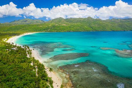 Aerial photography of wonderful tropical panorama of Rincon bay.Samana peninsula,Rincon beach,Dominican Republic. Фото со стока - 133076866