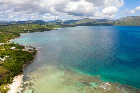 Aerial photography of wonderful tropical panorama of Rincon bay.Samana peninsula,Rincon beach,Dominican Republic. Фото со стока