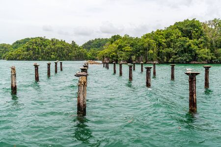 Los Haitises National Park nicknamed the Caribbeans Halong Bay.Mangroves,a rich tropical forest, multicolored tropical birds and manatees. The coast is dotted with small islets where frigates and pelicans nest.Samana peninsula, Dominican Republic.
