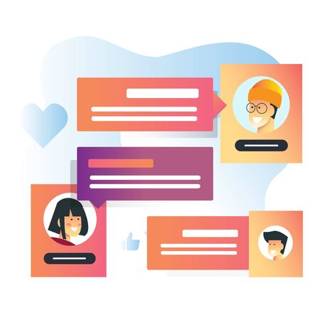 vector illustration for group chat messenger its perfect for startup apps and communication company