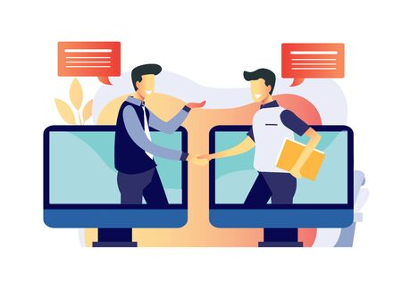 vector illustration for two man hand shake dealing its perfect for job hunters company Reklamní fotografie - 146872178